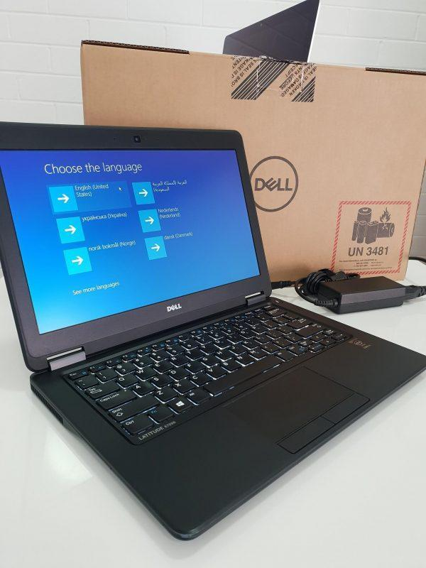 Refurbished Dell Latitude e5270 laptop screen on with box