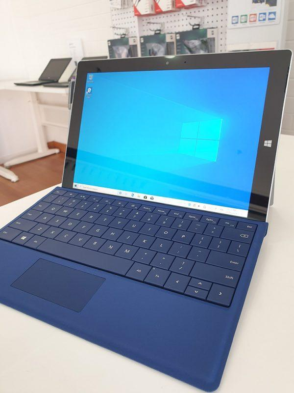 Refurbished Microsoft Surface 3 with blue keyboard front view