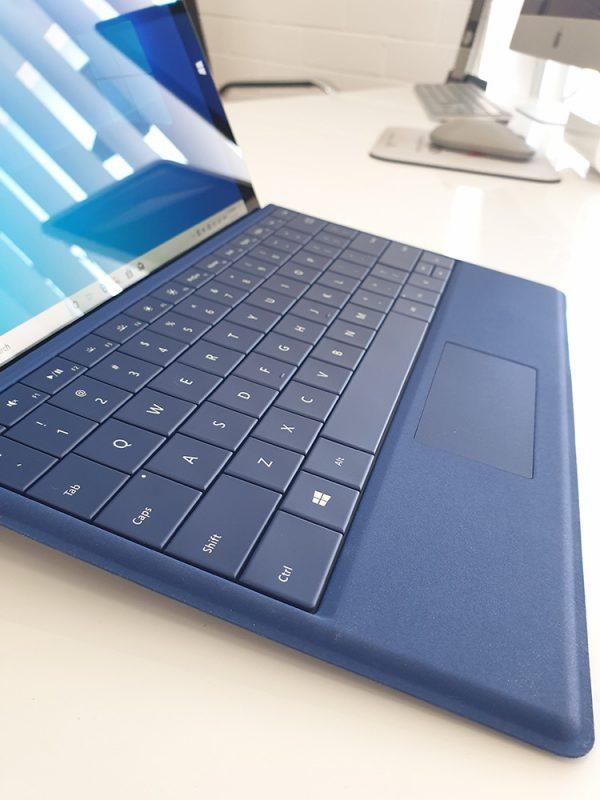 Refurbished Microsoft Surface 3 with blue keyboard view